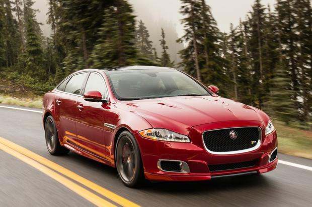 Jaguar XJL in red for wedding car hire